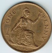 George VI, One Penny 1947, AUNC, M9005